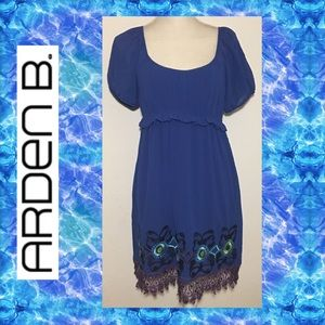 Arden B. Blue Embroidered Dress